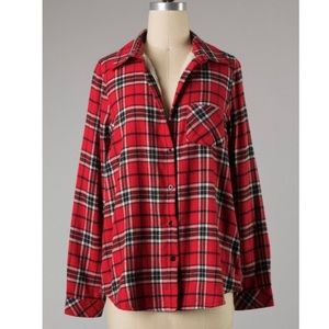 Red Plaid Flannel Button Down Shacket